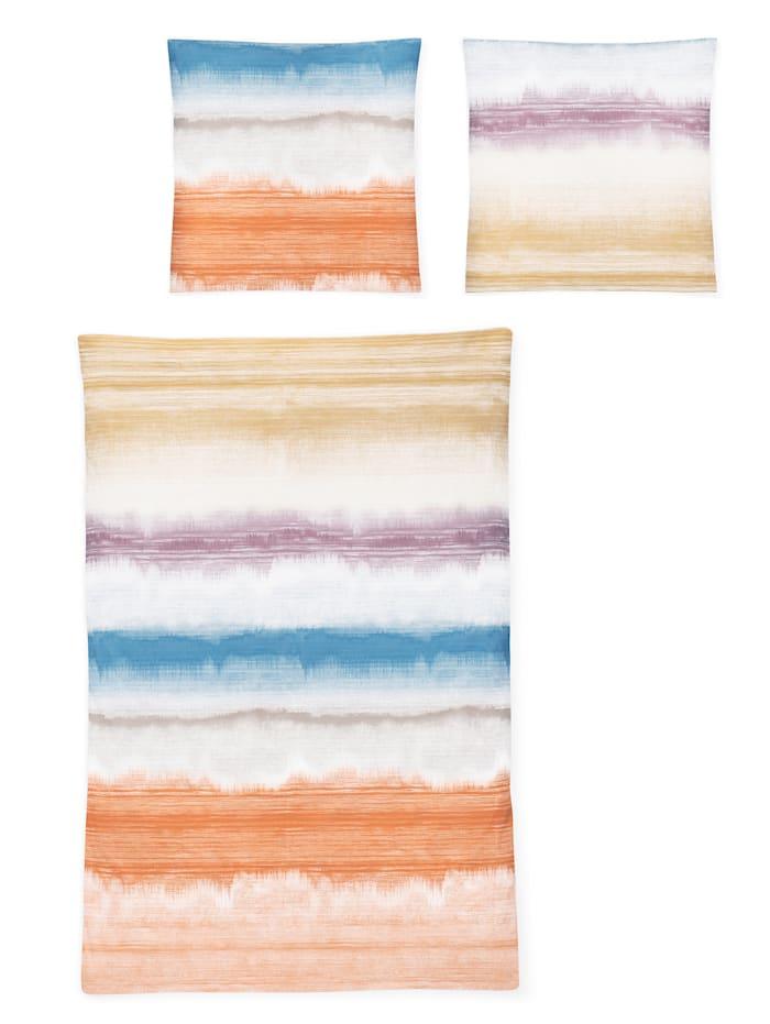 Irisette Parure de lit 2 pièces 'Elias' en satin de coton égyptien, Multicolore