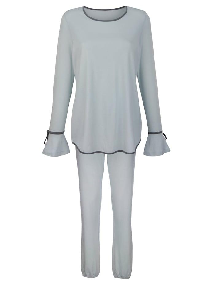Simone Pyjamas med romantiska volangärmar, Ljusgrön/Grå