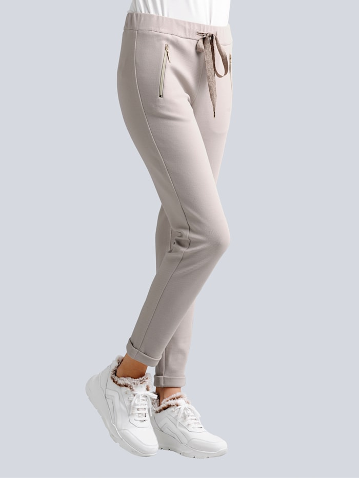 Alba Moda Džersej nohavice s módnym joggingovým strihom, Kamenná