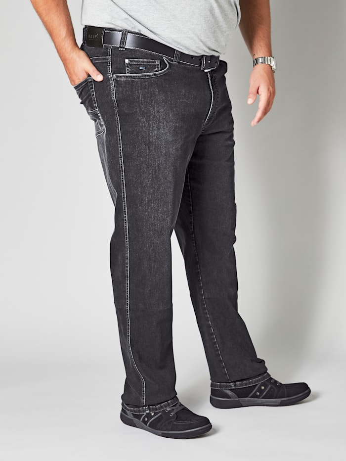 Men Plus Jeans in moderne used look, Black