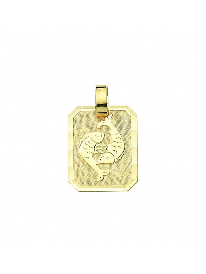 1001 Diamonds Damen & Herren Goldschmuck 333 Gold Sternzeichen Anhänger Fisch, gold