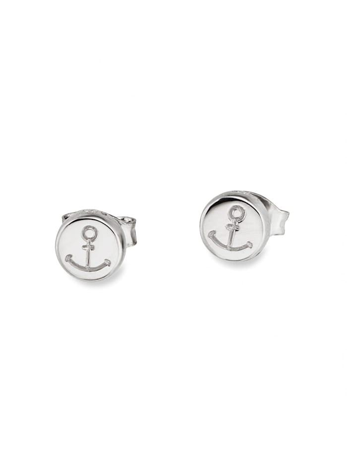 CAI Ohrstecker 925/- Sterling Silber ohne Stein 0,6cm Glänzend, weiß