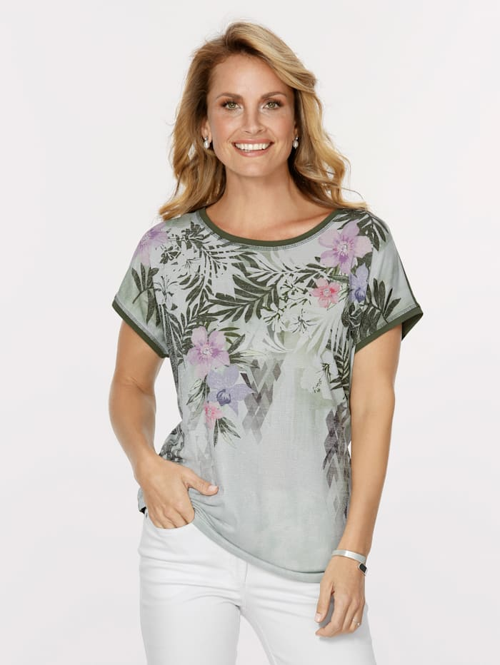 MONA Top with shimmering thread, Olive/Lavender/Silver-Coloured