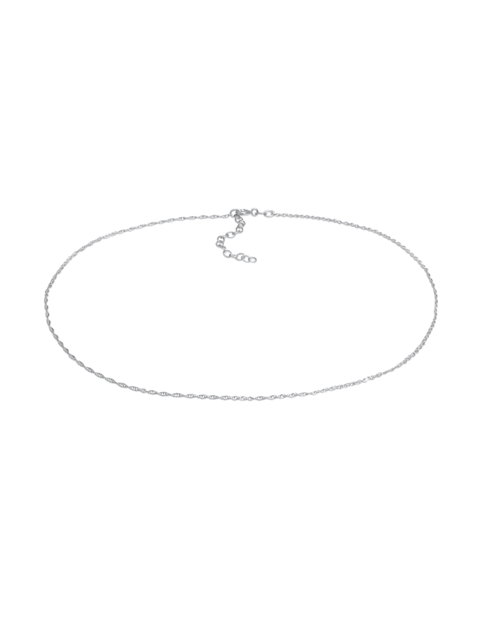 Elli Halskette Choker Basic Twisted Chain Gedreht Fein 925 Silber, Silber