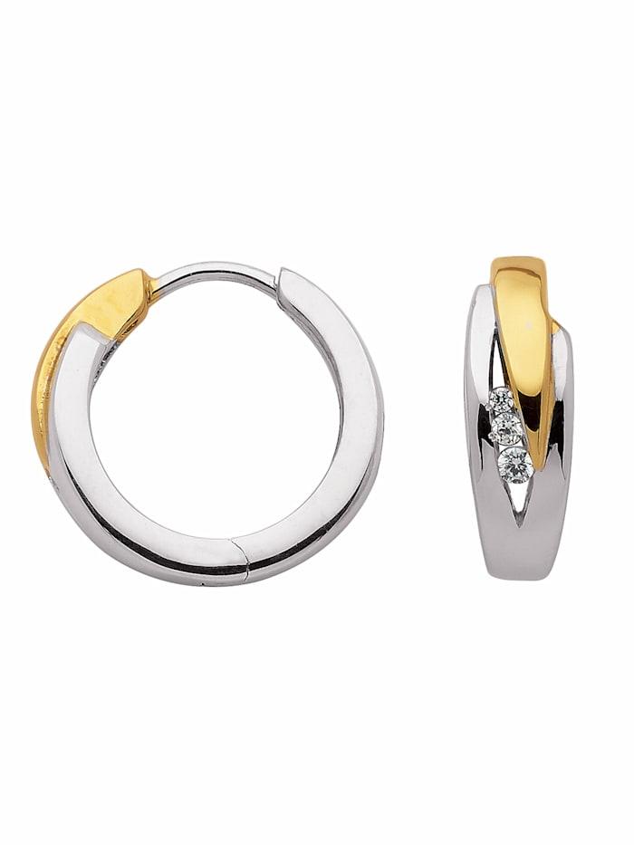 1001 Diamonds 1001 Diamonds Damen Silberschmuck 925 Silber Ohrringe / Creolen mit Zirkonia Ø 15,7 mm, silber