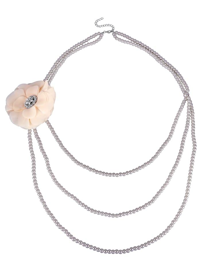Halskette mit Brosche, Silberfarben