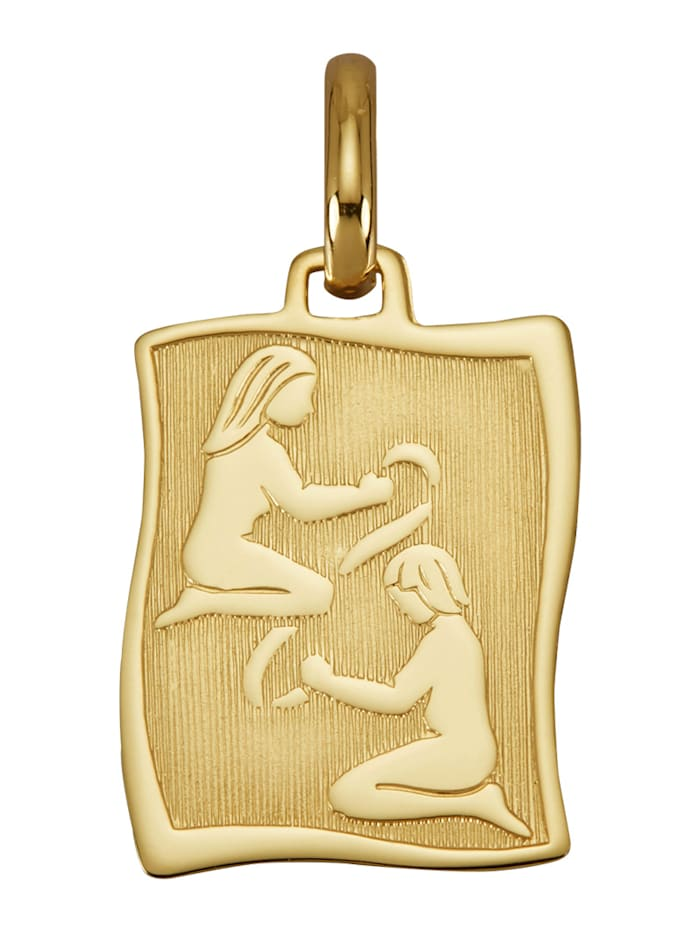 """Amara Or Pendentif avec signe du zodiaque """"Gémeaux"""" en or jaune 585, Coloris or jaune"""