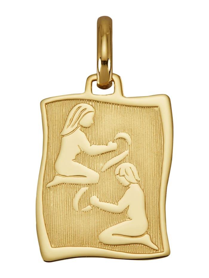 Diemer Gold Sternzeichen-Anhänger 'Zwillinge' in Gelbgold 585, Gelbgoldfarben