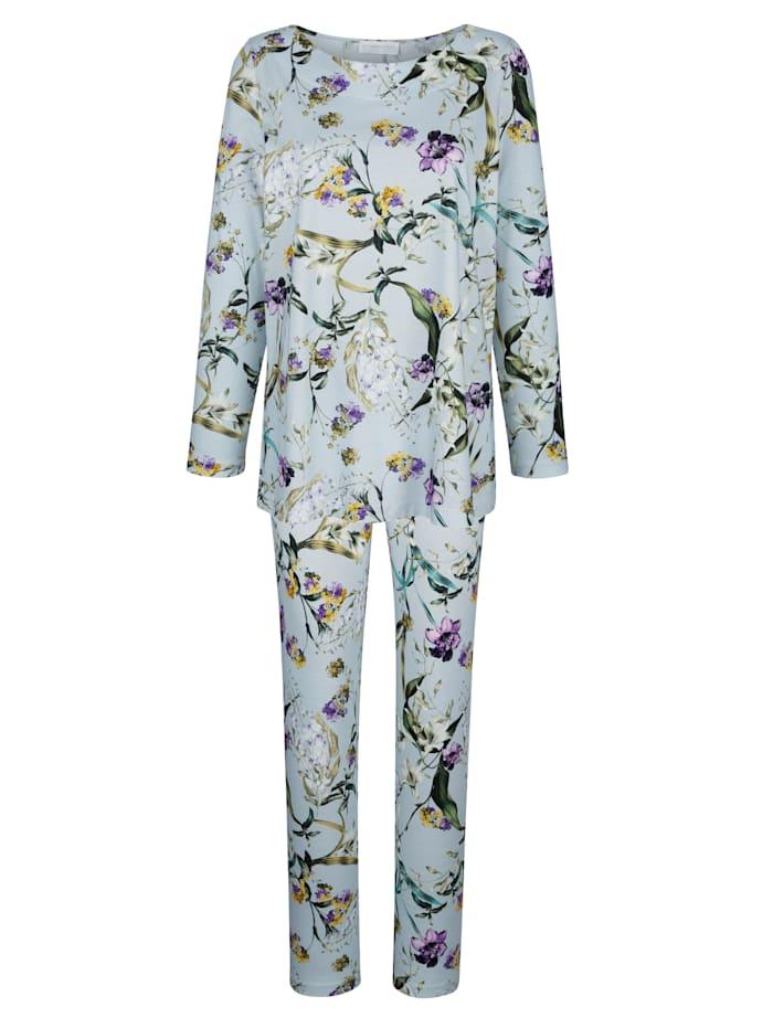 MONA Pyjama met bloemendessin, Ijsblauw/Groen/Paars