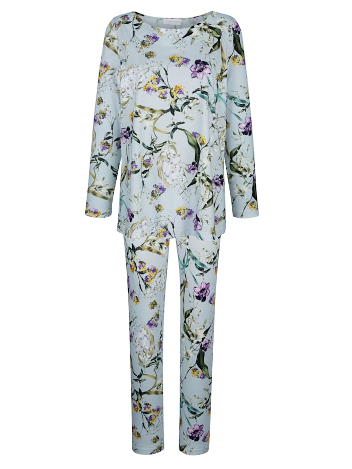 Pyjama met bloemendessin, Ijsblauw/Groen/Paars