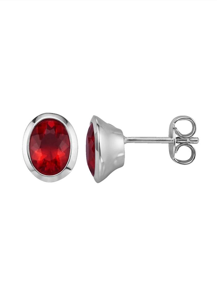 Diemer Platin Boucles d'oreilles à opales rouges, Rouge