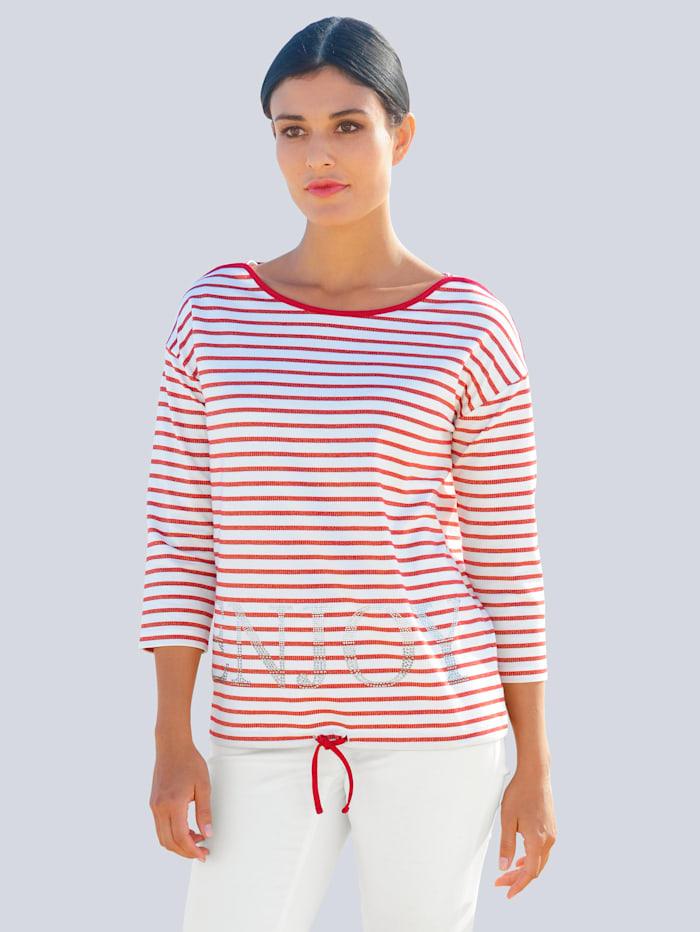 Alba Moda Shirt mit Strasssteinchen, Rot/Weiß