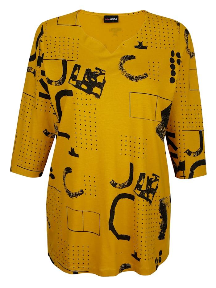 MIAMODA Tričko se ženským výstřihem, Žlutá