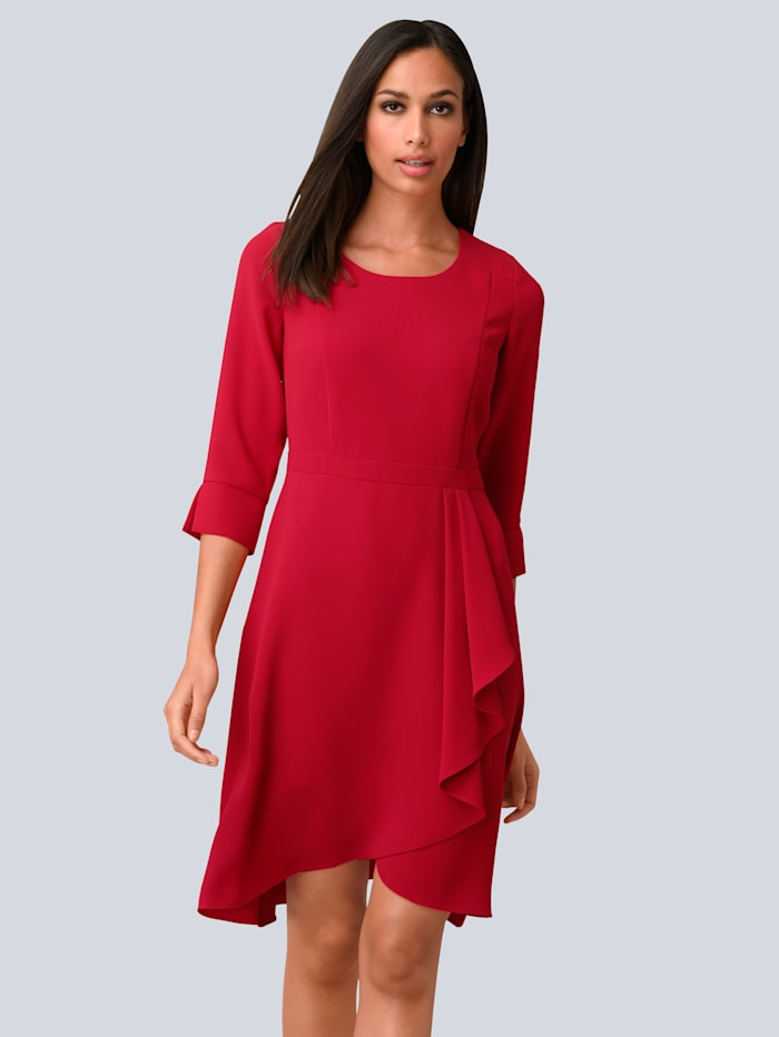 Alba Moda Kleid mit femininem Volant am Rockteil, Rot