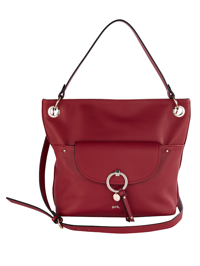 Ara Handbag with gold-tone detailing, Red