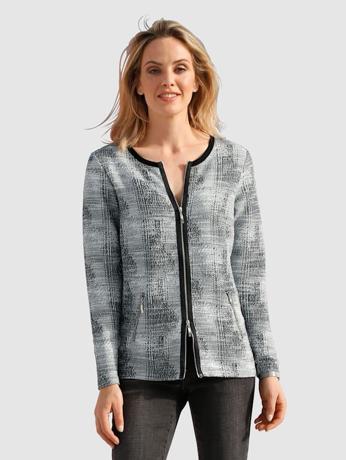 AMY VERMONT Tričkový kabátek s metalickým vláknem, Svetle modrá/Přírodní bílá