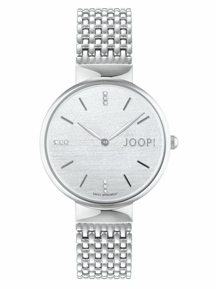 JOOP! Quarzuhr für Damen, Edelstahl, Zirkonia, Silber