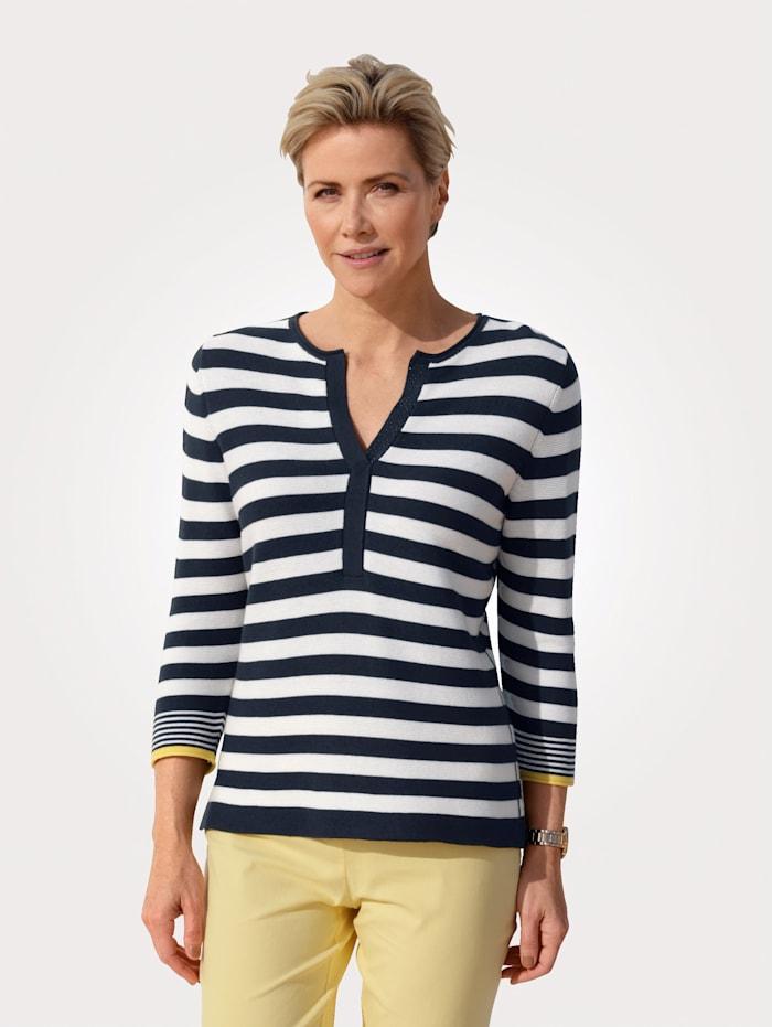 Rabe Pullover in sommerleichter Qualität, Marineblau/Ecru