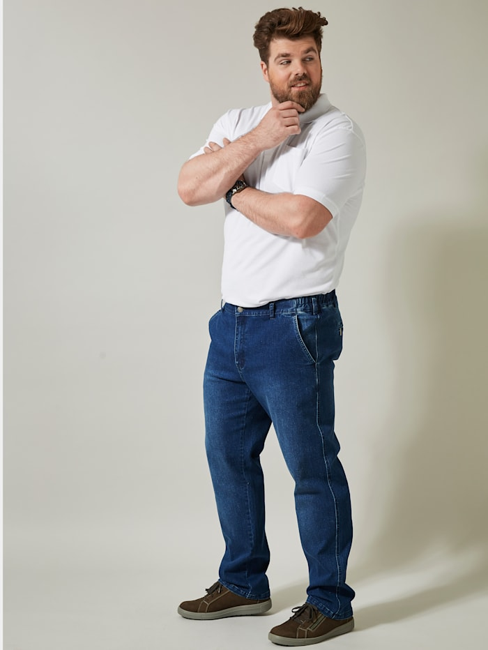 Men Plus Flatfront Jeans, Blue stone