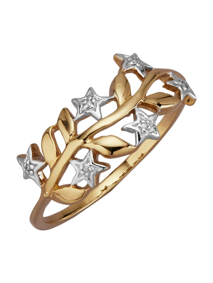 AMY VERMONT Damesring met diamanten, Geelgoudkleur