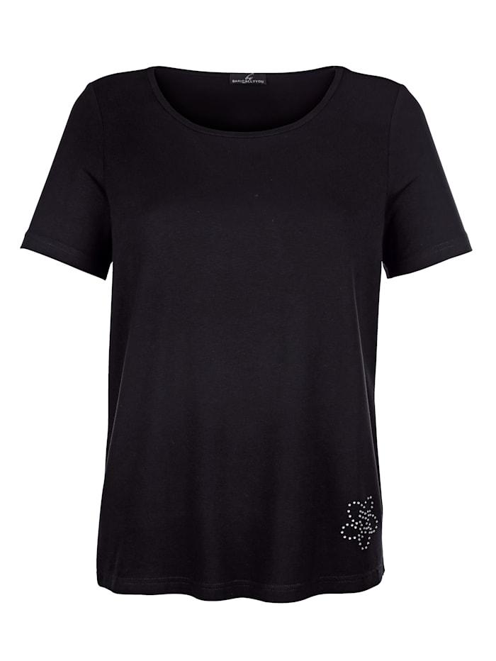 T-shirt avec ornement de petites pierres fantaisie