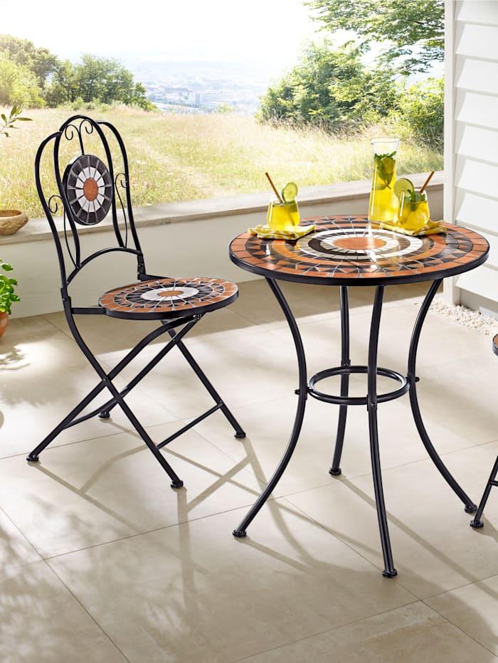 KLiNGEL Set van 2 metalen stoelen, Terracotta/Zwart