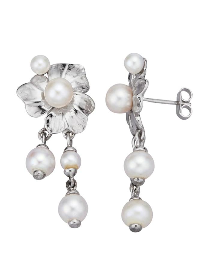 Diemer Perle Ohrringe mit Süßwasser-Zuchtperlen, Weiß