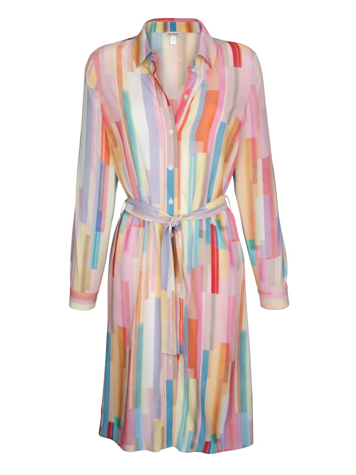 Alba Moda Robe en matière fluide agréable à porter, Rose/Jaune/Bleu