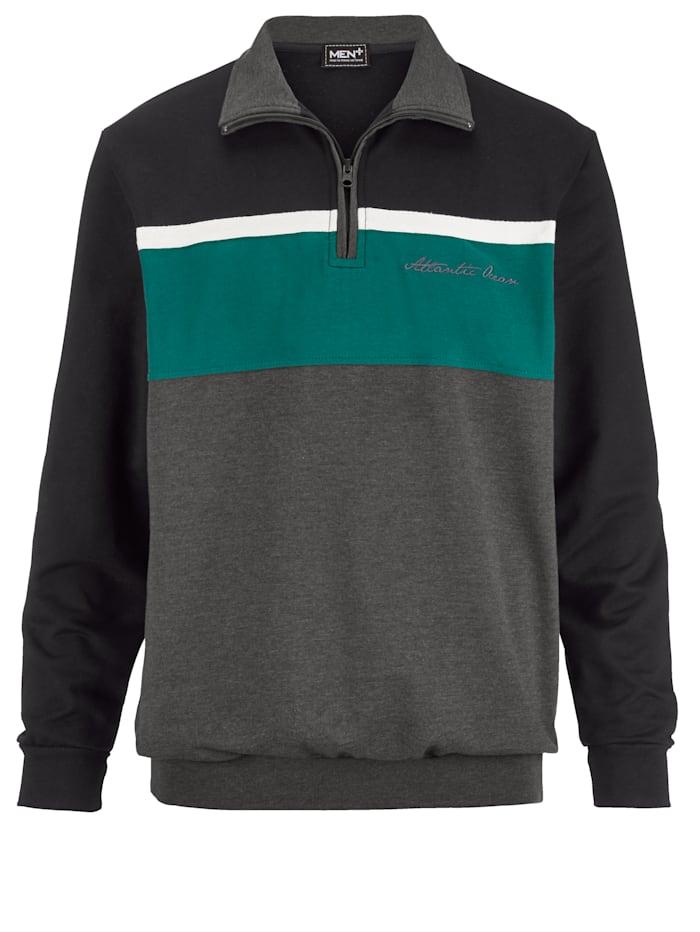 Men Plus Sweatshirt, Schwarz/Grün/Anthrazit