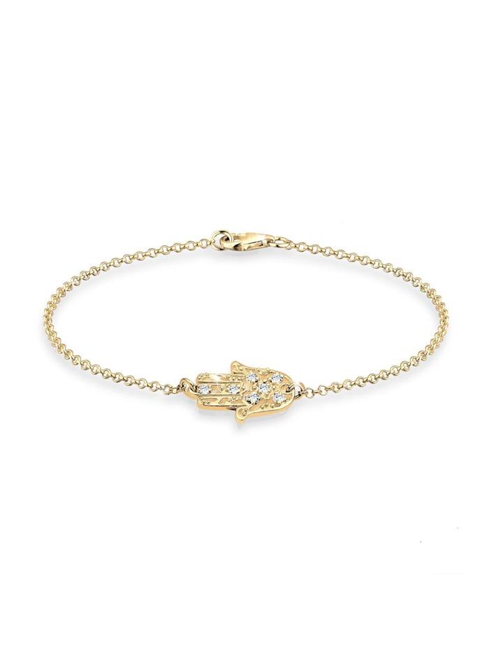 Elli Armband Hamsa Hand Kristalle 925 Silber, Gold