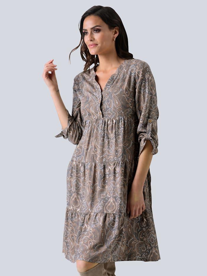Alba Moda Kleid mit Paisley-Dessin, Grau/Taupe/Off-white