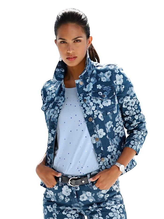 Jeansjacke mit floralem Allover-Druck