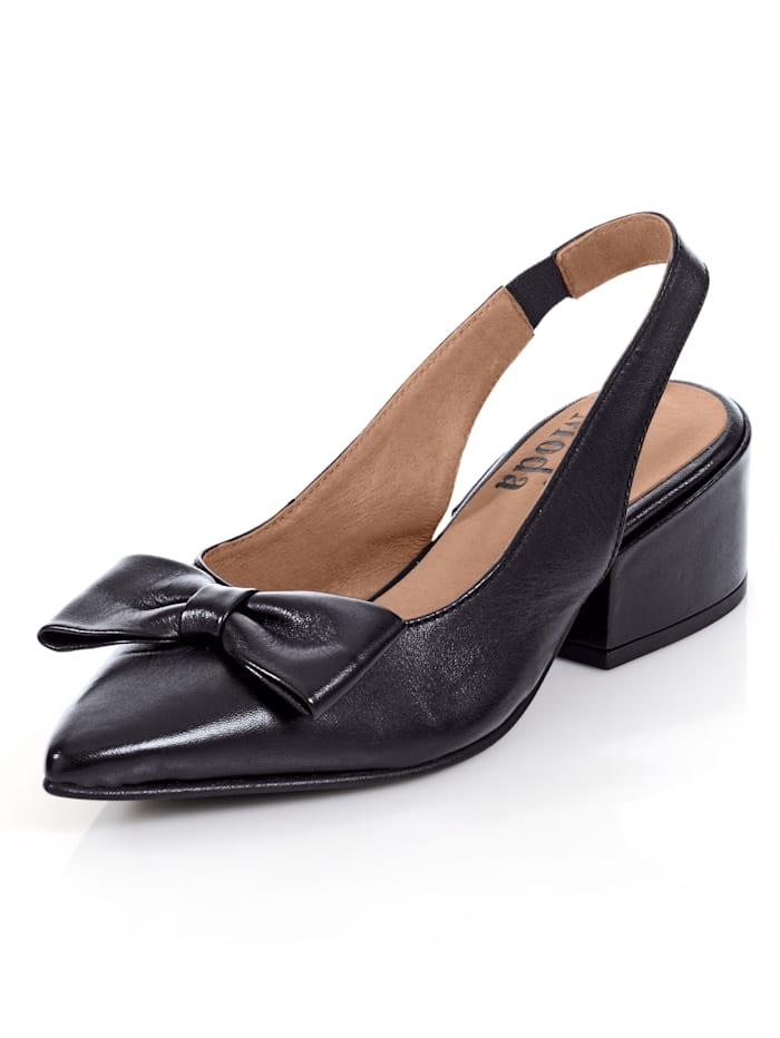 Alba Moda Escarpins en cuir de chevreau haut de gamme, Noir