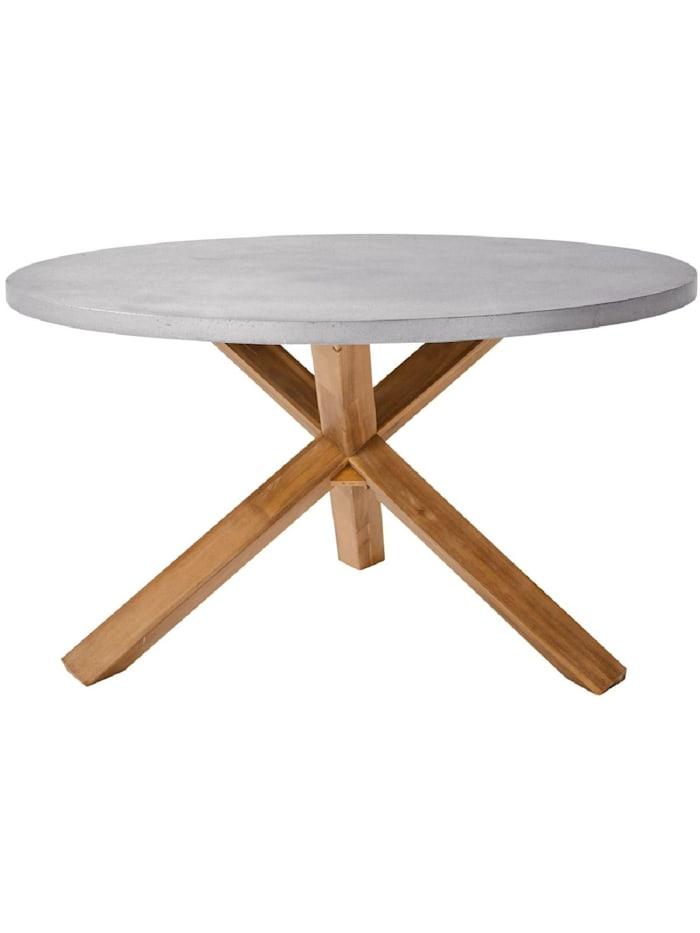 Living Outdoor-Tisch, rund, Natur/Grau