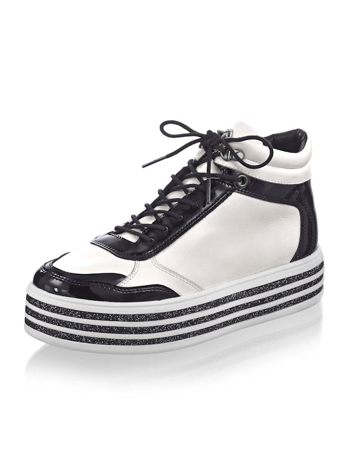 Alba Moda Sneaker in opvallend model, Wit/Zwart