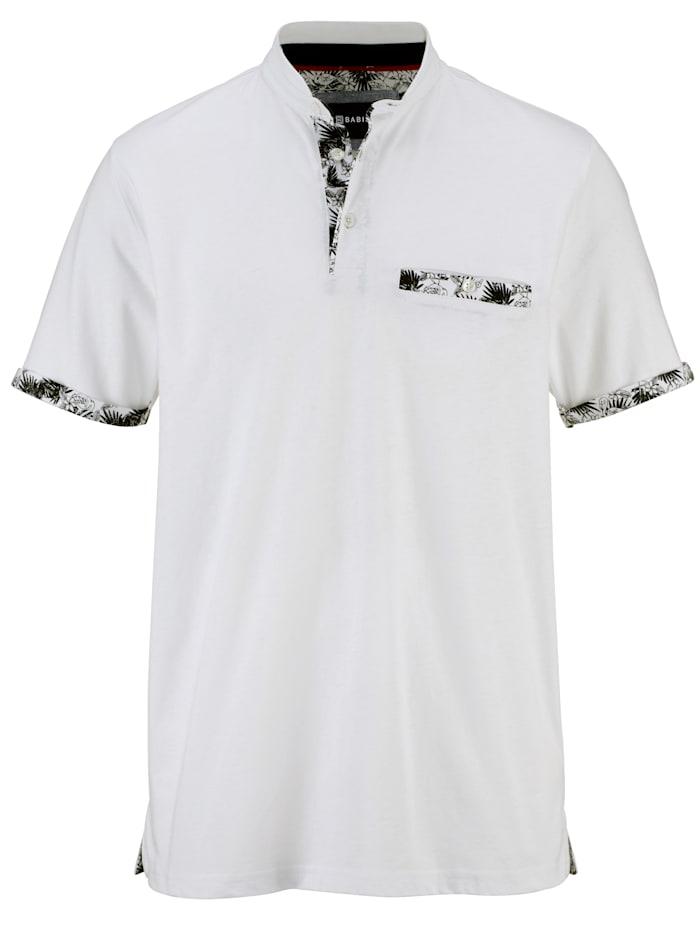 BABISTA Tričko s módním stojatým límcem, Bílá