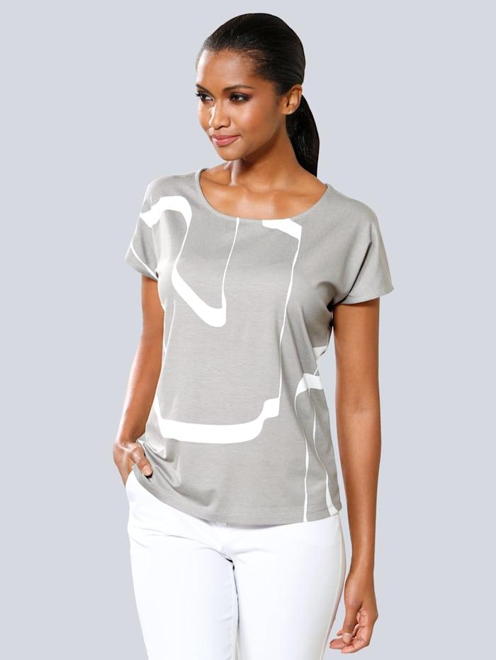 Alba Moda Shirt im grafischen Druck allover, Taupe/Weiß