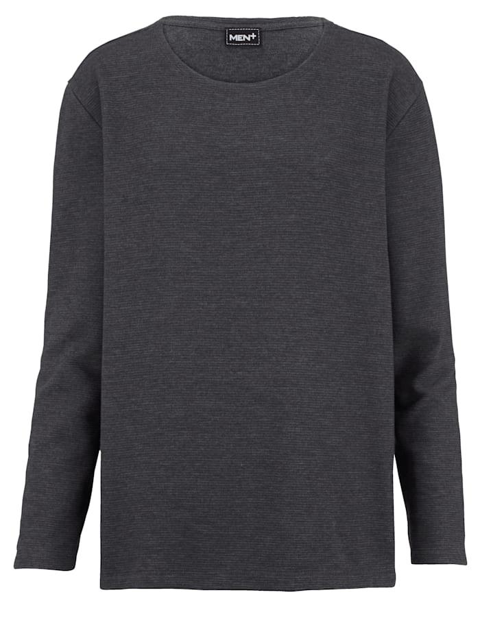Men Plus Sweatshirt in melierter Optik, Anthrazit