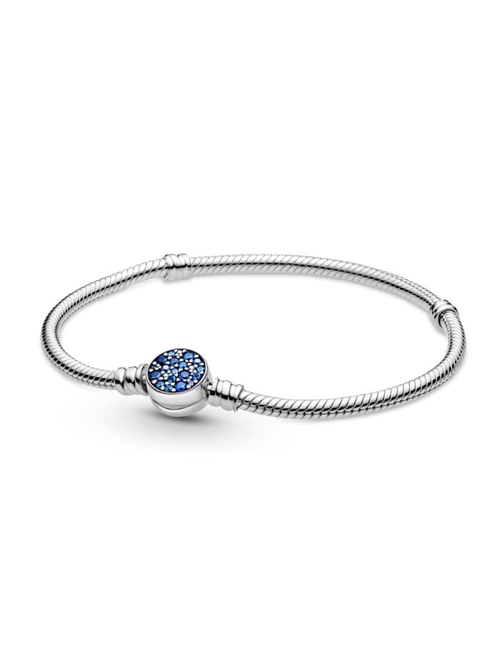 Pandora Armband mit funkelndem Blauem Scheibenverschluss - 599288C01-19, Silberfarben