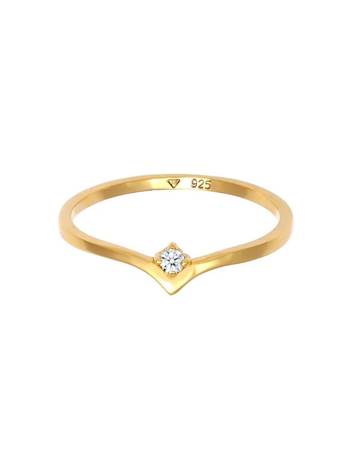 Ring Solitär Diamant (0.03 Ct.) V-Form 925 Silber