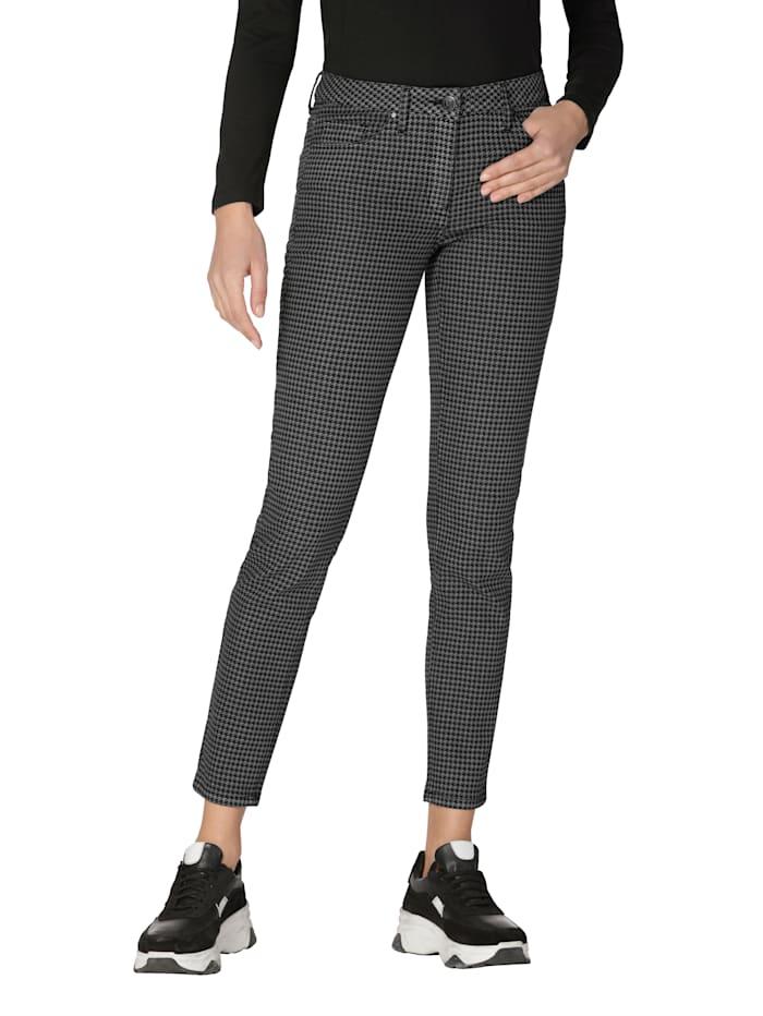 AMY VERMONT Jeans med hundtandsmönster, Svart/Vit
