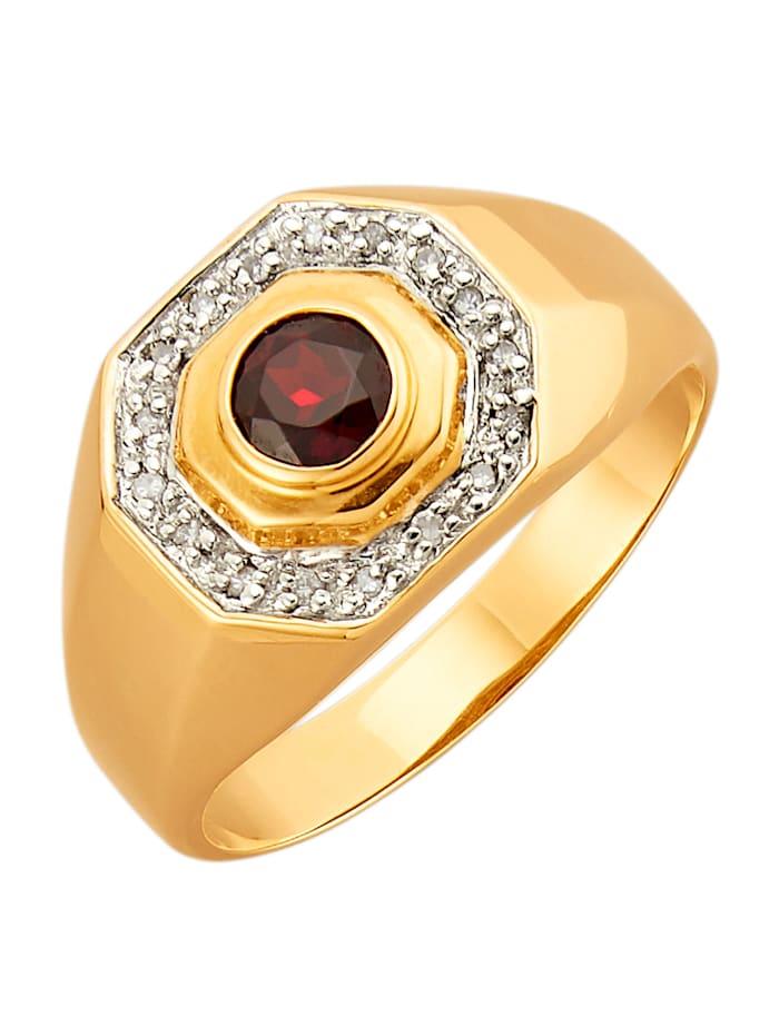 Herrenring mit Granat und Diamanten, Rot