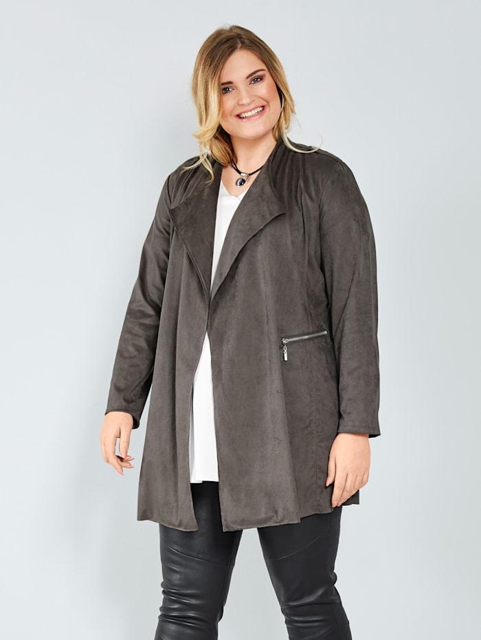 Sara Lindholm Veste en cuir synthétique avec poches, Gris foncé