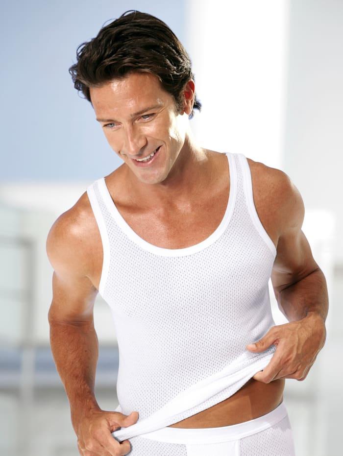 Pfeilring Unterhemd aus feiner Netzqualität, Weiß