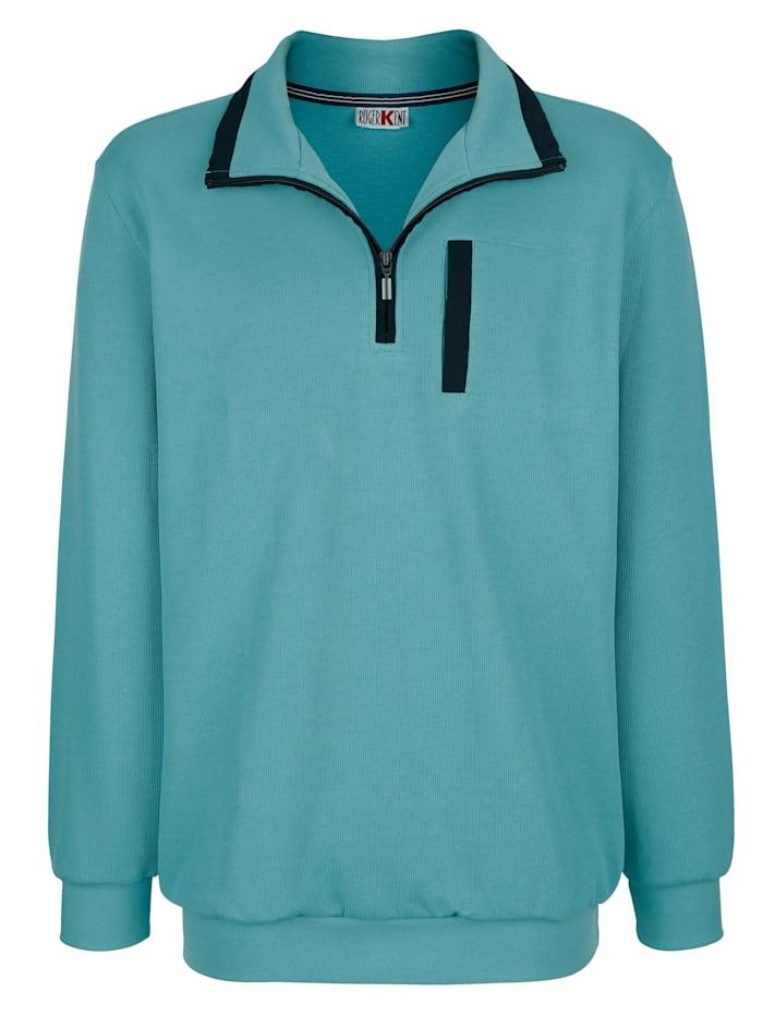 Roger Kent Sweatshirt met contrasterende details, Turquoise