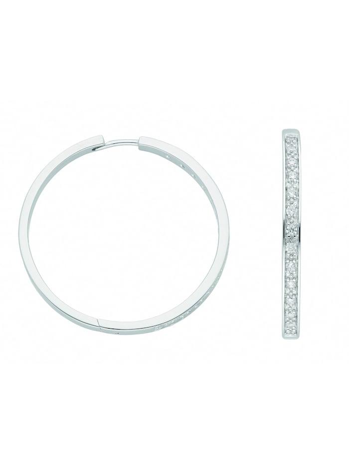 1001 Diamonds Damen Silberschmuck 925 Silber Ohrringe / Creolen mit Zirkonia Ø 37,5 mm, silber