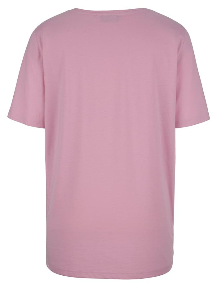 Shirt mit Dekosteinen am Ausschnitt