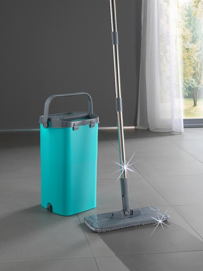 Serpillière Clever Clean Wash & Dry avec seau double compartiment, Turquoise/Gris