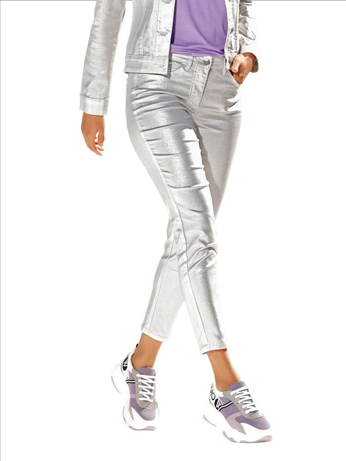 AMY VERMONT Hose in Metallic-Optik, Silberfarben/Weiß