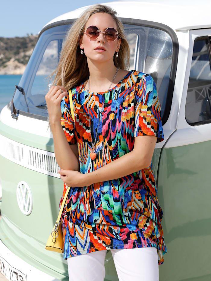 MIAMODA T-shirt à pointes À imprimé haut en couleurs, Multicolore